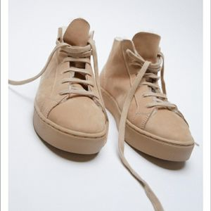 Zara leather high top sneakers